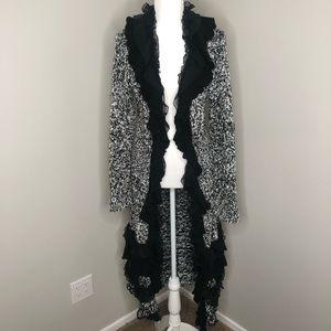 White & Black Ruffle Knit Maxi Sweater Cardigan